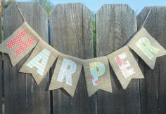 SALE  Ready to Ship  Baby Name  HARPER Burlap Banner by BPStitches, $20.00