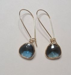 Sapphire blue glass and gold dangle earrings.  Kidney wires.  Everyday.  Bridal.  Simple and Gorgeous.