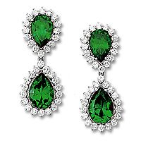Pears with Rounds Cubic Zirconia Halo Drop Earrings, 17.75 Ct TW