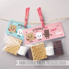 PRINTABLE Smores Valentine Treat Bag Toppers, Instant Download Valentine Cards Kids, Smore's Printable Valentine Tag, Smore's Valentines Day, Smores Valentine Cards, Smores Treat Bags, School Valentines, Classmate Valentines