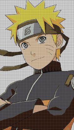 Naruto anime cross stitch pattern in Embroidery Art, Cross Stitch Embroidery, Embroidery Patterns, Cross Stitch Pattern Maker, Cross Stitch Patterns, Modele Pixel Art, Pixel Art Grid, Nerd Crafts, Anime Pixel Art