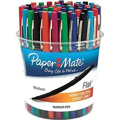 Never have toooo many Paper Mate Flairs! Paper Mate® Liquid Flair® Porous Point Pens, Medium Point, Assorted, 48/Pack