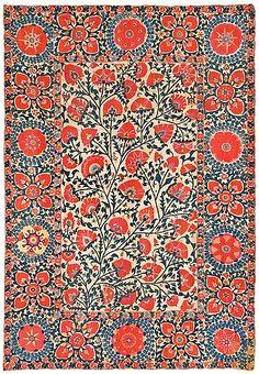 ANTIKT UZBEKISTANSKT SUZANI BRODERI. 263,5 x 186 cm. - Bukowskis Textiles, Textile Patterns, Textile Art, Fall Patterns, Print Patterns, Indian Patterns, Pattern Art, Pattern Design, Mughal Miniature Paintings