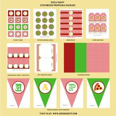 PIZZA PARTY Birthday Party  Coordinating Pizzeria by andersruff  Nice paper printouts