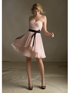 2013 New Arrival Princess Sweetheart Ruched Short Chiffon Wedding Bridesmaid Dresses Under 100 WPBD-9055