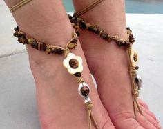 Barefoot sandals. beaded sandals,gemstones  boho barefoot sandles, crochet barefoot sandals, , yoga, anklet  hippie shoes