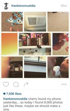 Frank Iero, frnkiero andthe cellabration, posted to Instagram photos his daughter, Cherry, took with his phone - including shots of him relaxing on his couch at home. September 15, 2015.