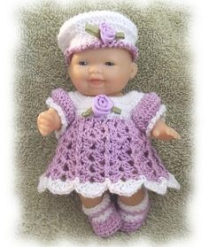 Crochet Pattern for 5 inch Berenguer Lucy's Sunday Meeting Dress by alcarrico32, $3.99