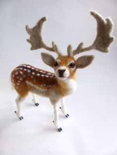 Needle Felt Fallow Deer Stag on a wire armature by BuzzyFeltz