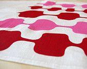 Linen 'Enka' Tea Towel (Red & Pink on White)