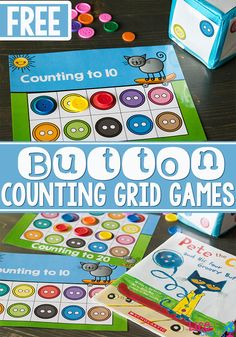 Get preschoolers excited about counting with this fun button counting grid game set that goes perfectly with Pete the Cat! Practicing counting skills is so much fun when you make it a game! These are the best counting activities. Math Activities For Kids, Preschool Books, Preschool Printables, Preschool Learning, Fun Math, Math Games, Fun Learning, Preschool Activities, Book Activities