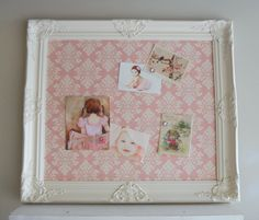 FRAMED MAGNET BOARD Magnetic Board Nursery Decor Pink Damask Fabric Vintage Style Shabby Chic Pink Wedding Decor Picture Collage 26inx30in. $159.00, via Etsy.