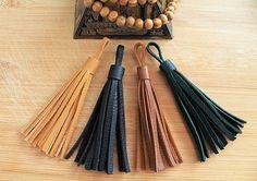 Wholesale Leather Tassel 1 pieces - Color: Black,Brown,Navy Blue,Dark green,Mustard,Beige