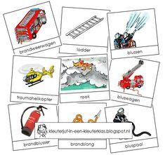 Activiteiten met woordkaarten bij het thema 'Brandweer' (tekeningen van Dagmar Stam)