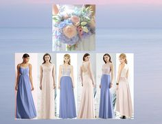 Periwinkle blue and pink bridesmaids dresses
