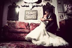 A stolen kiss. Our wedding at the Alger House in NYC. #vintage #nycwedding #winterwedding #antique #wedding
