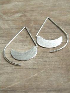 Long Urban Hoops sterling silver drop open hoop by alibli