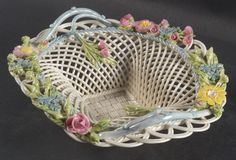 Belleek Reticulated basket with hand applied colored flowers