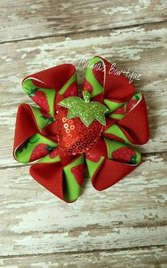 Strawberry Hair Flower with Sequin Center Red by lilmamasbowtique