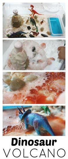 Dinosaur Volcano Small World Sensory Science Play Baking Soda Science Volcano