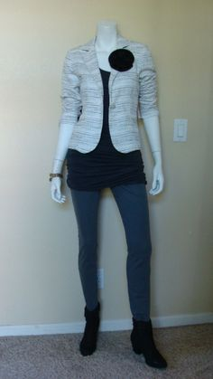 Daily Look: CAbi Fall '13 Static Jacket and Tucked Tunic with spring's Bree Jean and booties.  That is a black silk flower at the lapel.