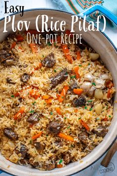 How To Make Plov (With an Easy Step-by-Step Tutorial) A one-pot Plov recipe that tastes like the Uzbek version for only a fraction of the time! Learn how to plov shared by a church chef himself! Dutch Recipes, Beef Recipes, Cooking Recipes, Healthy Recipes, Beef Chunks Recipes, White Russian Recipes, Russian Dishes, Russian Food Recipes, Riz Jollof