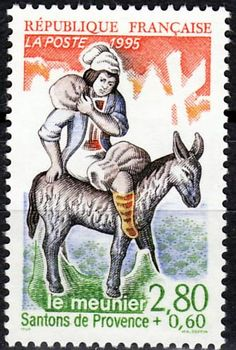 Le Meunier - The Miller.  Santon postage stamp.  Pinned by www.mygrowingtraditions.com