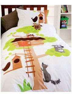 Tree House Bedding Quilt Cover Set Single Appliqued Animals Boys Kids Brand New