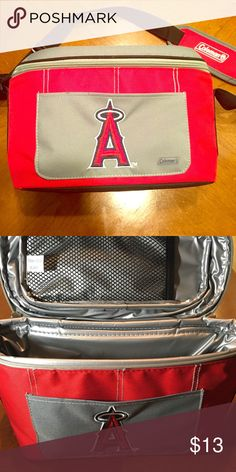 **New **Offical Angels Baseball Cooler for 12 Pack ** New ** Official Angels Baseball Cooler for 12 Pack, Chrome die-cast Angeles Magnet & Angels round decal. Cooler retails price 23.00. Great deal. Make an Offer or Bundle discount. Other