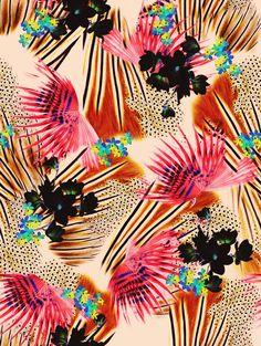 jovoto / UNDER THE CANOPY / Artificial Garden / A textile supplier Motifs Textiles, Textile Patterns, Textile Prints, Art Prints, Motif Floral, Arte Floral, Floral Prints, Tropical Prints, Surface Pattern Design