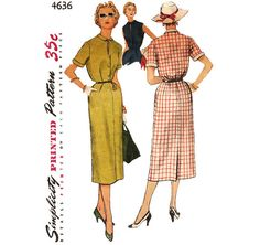 1950s Day Dress Pattern  Vintage Simplicity 4636  by ErikawithaK, $10.00