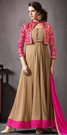Brown Silk Incredible Salwar Kameez in Anarkali Style.