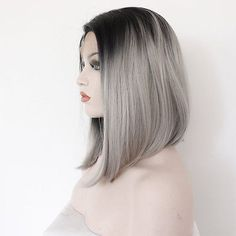 Women's Ombre Grey Style Short Bob Synthetic Hair Lace Front Heat Resistant Wigs