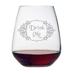 Drink Me ~ Stemless Wine Glasses ~ Set of 4
