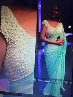 Bridal pearl Work blouse With designer saree | buy online designer blouses | Elegant Fashion Wear
