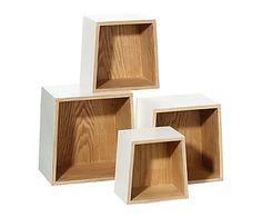 Set de 4 estantes en madera DM Trapecio - natural y blanco