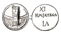 Roman theater ticket. This drawing shows both sides of an ancient Roman theater ticket. It appears to contain on its face an image of the distinctive curved stairway to the Temple of Venus Victrix which served as the cavea of the Theater of Pompey. On the reverse it has the Roman numeral XI, followed by the Greek word [h]emikyklia (hemicycle) and the Greek letters I and L[ambda].