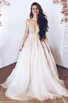 """If the words """"gorgeous long sleeve wedding dress"""" set your heart racing, you're in for a treat. Find your perfect long-sleeve wedding dress! Light Wedding Dresses, Bridal Dresses, Dress Wedding, Champagne Wedding Dresses, Lace Sleeve Wedding Dress, Champagne Dress, A Line Wedding Dress With Sleeves, Long Sleeved Wedding Dresses, Applique Wedding Dress"""