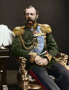 Alexander II (1818 - 1881). Emperor and Autocrat of All the Russias from 1855 until his assassination in 1881. He married Marie of Hesse and by Rhine and had eight children. He freed the serfs in 1861.