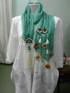 Pure Silk scarf with lampwork beads and needle lace..