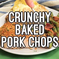 Crunchy baked pork chops are coated in a breadcrumb and Parmesan mixture then put in the oven for an easy, hands-off dinner that's sure to be a family favorite! Crunchy baked pork chops are an easy, hands-off dinner that's sure to be a family favorite! Pork Recipes For Dinner, Pork Chop Recipes, Meat Recipes, Cooking Recipes, Healthy Recipes, Pork Lion Chops Recipes, Pork Dinner Ideas, Pork Meals, Cooking Pork