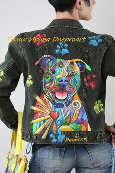 """Верхняя одежда ручной работы. Ярмарка Мастеров - ручная работа. Купить Джинсовая куртка в стиле поп арт """"Пит буль""""ручная роспись. Handmade."""