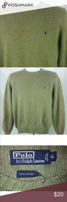 Polo by Ralph Lauren  crewneck knitted sweater Men's Polo by Ralph Lauren polo crewneck Olive green knitted sweater. Size xlarge Polo by Ralph Lauren Sweaters Crewneck
