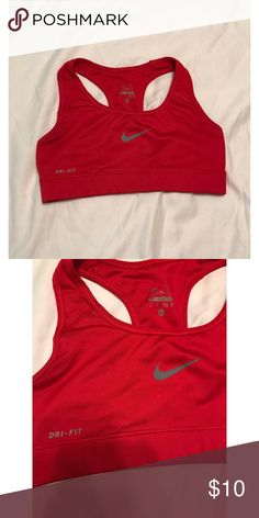Nike || Cherry Red sports bra || Dri-fit Nike || Cherry Red sports bra || Dri-fit || Condition: gently-used, perfect condition || Size: extra-small Nike Intimates & Sleepwear Bras