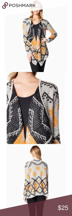 Tribal printed sweater size medium BNWT With a cascading waterfall hem and easy laid-back feel, this tribal printed sweater is a cozy addition to your wardrobe. Size medium  Brand new with tags  Silver soft  Pet and smoke free home Charming Charlie Sweaters Shrugs & Ponchos