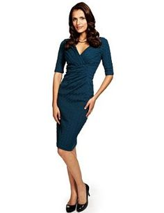 Per Una Pleated Textured Bodycon Dress with Secret Support™