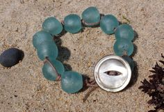 Icy Blue Large Sea Glass Beaded Bracelet with a Mother of Pearl Button - Beachy Bohemian Jewelry | TheDepths on Etsy