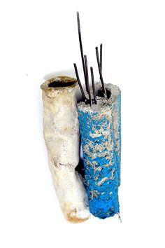 Adam Grinovich. Brooch: Stacks/Structures #1: Pile1 2008  Concrete, iron, copper, enamel, paint  15 x 6 cm