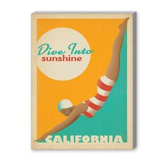 """East Urban Home Dive into Sunshine Vintage Advertisement on Gallery Wrapped Canvas Size: 10"""" H x 8"""" W x 1.5"""" D"""