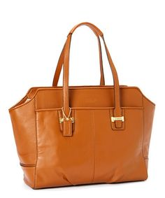Look what I found on #zulily! Sand & Brass Signature Embossed Patent Leather Tote by Coach #zulilyfinds